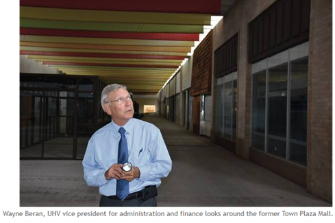 UHV VP for Administration and Finance looks around the former Mall