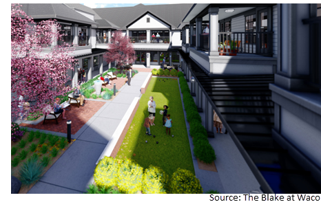 Rendering of The Blake at Waco, a senior living community at 5901 Crosslake Pkwy.
