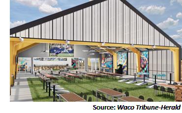 Rendering of Topgolf backyard-style venue in Waco