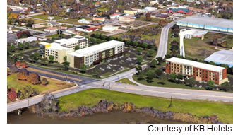 Renderings of three hotels on Brazos River.