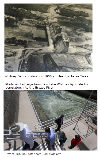Lake Whitney hydropower facility on Brazos River 2017