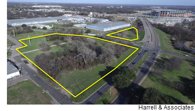 The land in East Waco bought by the hotel developer, outlined in yellow, with a view of Baylor University's football stadium in the distance.