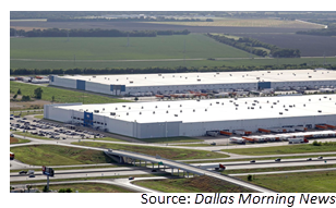The Procter & Gamble distribution center, front, and the Whirlpool shipping hub, behind