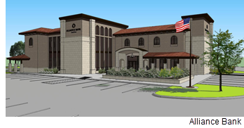 Rendering of Alliance Bank of Central Texas in Woodway.
