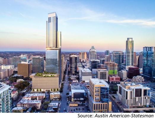 Skyline view of downtown Austin