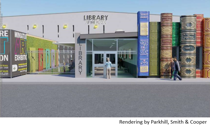 Rendering of new library entrance